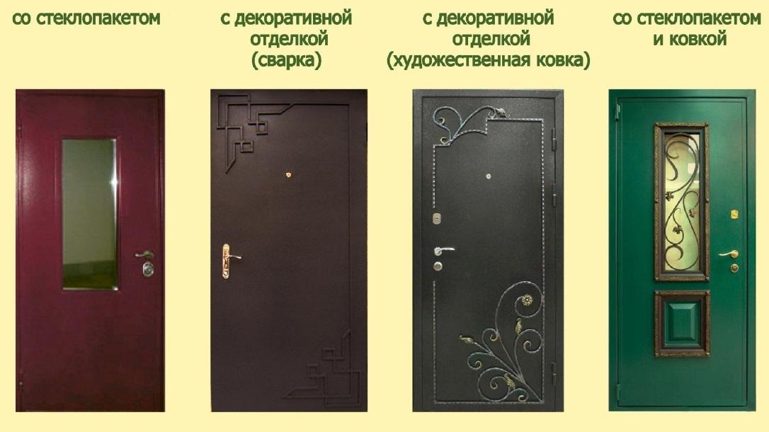 Варианты декоративной отделки дверей снаружи